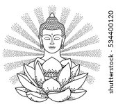 buddha and lotus with beam of... | Shutterstock .eps vector #534400120