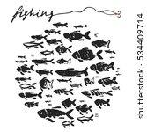fishing fish hand drawing ink...