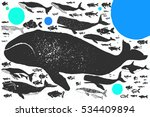 whales and fishes big hand... | Shutterstock .eps vector #534409894