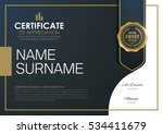 certificate template with... | Shutterstock .eps vector #534411679