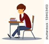 Sad Student Sitting In Class....
