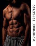 lean muscular man torso with... | Shutterstock . vector #534427690