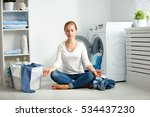 concept. tired housewife... | Shutterstock . vector #534437230