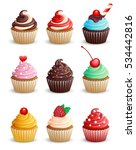 set cupcakes on a white... | Shutterstock .eps vector #534442816