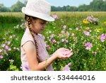 girl on the meadow feast one's... | Shutterstock . vector #534444016