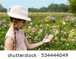 girl on the meadow feast one's... | Shutterstock . vector #534444049