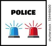 siren set. police flasher or... | Shutterstock .eps vector #534448600