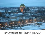 quebec city at dusk in winter ... | Shutterstock . vector #534448720