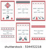 christmas set of 6 vertical... | Shutterstock . vector #534452218