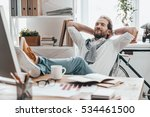 enjoying little break. handsome ... | Shutterstock . vector #534461500