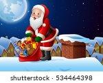 cartoon santa clause holding... | Shutterstock . vector #534464398