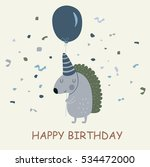 birthday card with cute ... | Shutterstock .eps vector #534472000