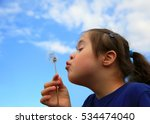 little girl blowing dandelion... | Shutterstock . vector #534474040