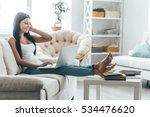 nice day at home. attractive... | Shutterstock . vector #534476620