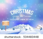 christmas landscape  winter... | Shutterstock .eps vector #534483448