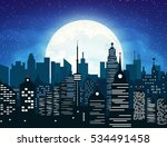 silhouette of the city with... | Shutterstock .eps vector #534491458