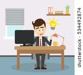 businessman with idea light... | Shutterstock . vector #534492874