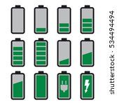 green and grey battery icons... | Shutterstock .eps vector #534494494