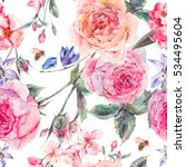 Stock photo vintage garden watercolor spring seamless background with pink flowers blooming branches of cherry 534495604