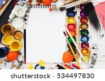 blank sketchbook in drawing...   Shutterstock . vector #534497830