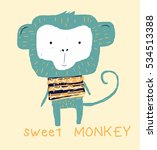 sweet monkey drawing for baby... | Shutterstock .eps vector #534513388