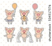 collection of cute piglet... | Shutterstock .eps vector #534517576
