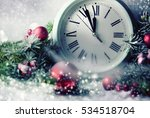 christmas clock and fir... | Shutterstock . vector #534518704