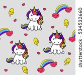seamless pattern with unicorns... | Shutterstock .eps vector #534532660