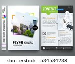 Brochure design template vector. Flyers annual report business magazine poster and portfolio. Flat leaflet cover book presentation. Abstract minimal jigsaw pattern and city. Layout in A4 size. | Shutterstock vector #534534238