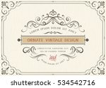 Stock vector horizontal vintage ornate greeting card with typographic design calligraphy swirls and swashes 534542716