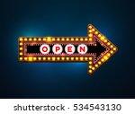 arrow light neon sign billboard.... | Shutterstock .eps vector #534543130