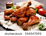 Baked chicken drumstick on...