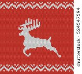 christmas red knitted pattern... | Shutterstock .eps vector #534547594