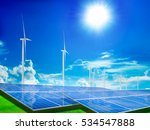 power plant  solar panels and... | Shutterstock . vector #534547888
