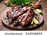 grilled barbecue pork ribs on... | Shutterstock . vector #534548899