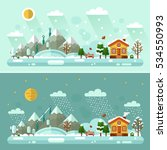 flat design vector day and... | Shutterstock .eps vector #534550993