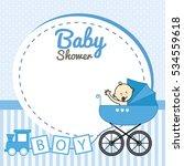baby shower. baby boy inside... | Shutterstock .eps vector #534559618