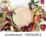 empty round wooden plate copy... | Shutterstock . vector #534562813
