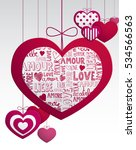paper hanging love hearts card... | Shutterstock .eps vector #534566563