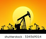 silhouette of working oil pumps ... | Shutterstock .eps vector #534569014