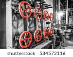 Red Valves In Heating Plant In...
