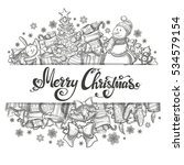 template with christmas icons... | Shutterstock .eps vector #534579154