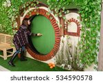 the woman in the shire at the... | Shutterstock . vector #534590578
