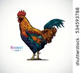 illustration of a rooster in a... | Shutterstock .eps vector #534593788