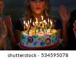 birthday. girls with a cake... | Shutterstock . vector #534595078