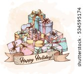 had drawn pile of gift boxes in ... | Shutterstock .eps vector #534595174