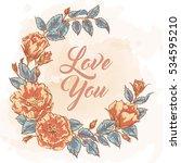 hand drawn retro garden flower... | Shutterstock .eps vector #534595210