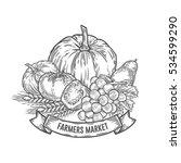 farmers market badge.... | Shutterstock . vector #534599290