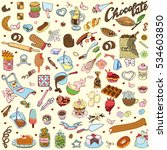 chocolate and candy big set.... | Shutterstock .eps vector #534603850