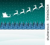 santa claus rides in a sleigh...   Shutterstock .eps vector #534606214